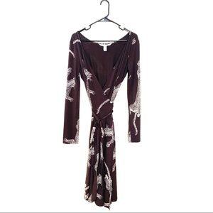 Diane Von Furstenburg Cheetah Brown Wrap Dress 6